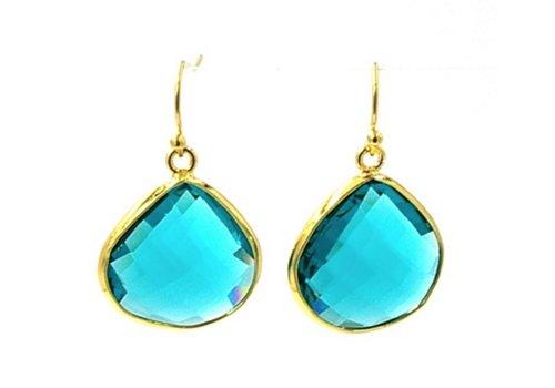 Fushi Afbeelding vergroten Oorbellen facet geslepen crystal druppel (turquoise)