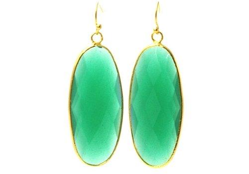Fushi Oorbellen facet geslepen crystal druppel lang (emerald)