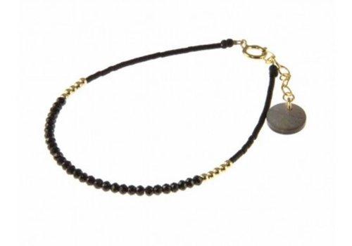 Blinckstar 1802A20 GF Spinel Mini Rondells GF Beads Faceted Matte Black Japanese