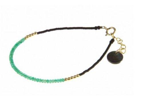 Blinckstar 1802A05 GF Green Onyx Mini Rondells GF Beads Faceted Matte Black Japan