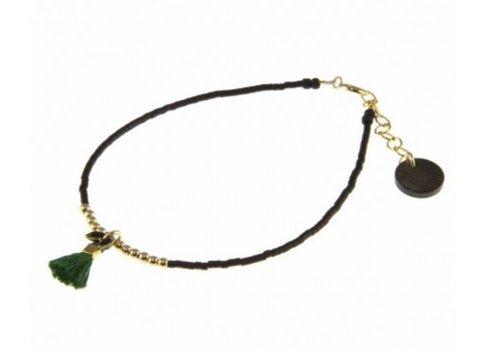 Blinckstar 1802A07 GF Beads Green Tassle Black Fishbone Matte Black Japanese Mini