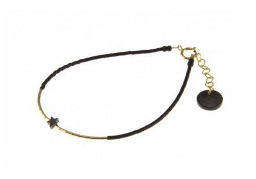 Blinckstar 1802A10 GF Mini Star Hematite GF Tube Matte Black Japanese Beads