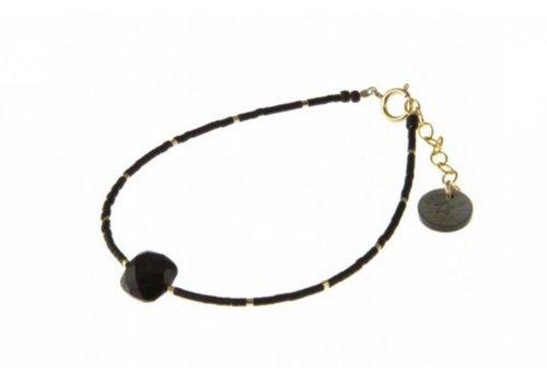 Blinckstar 1802A11 GF Spinel Cushion Cut GF Beads Faceted Matte Black Japanese Mini