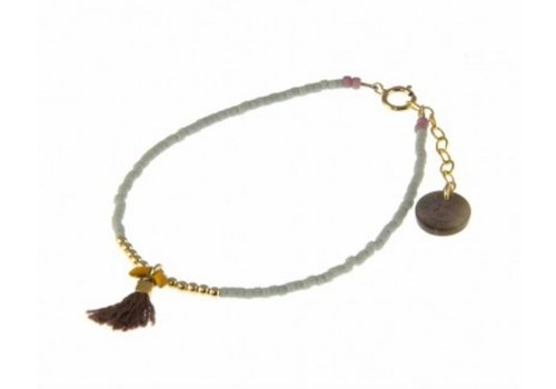 Blinckstar 1802A39 - GF Beads Ocre Fishbone Taupe Tassle Matte Grey Lilac Japanese