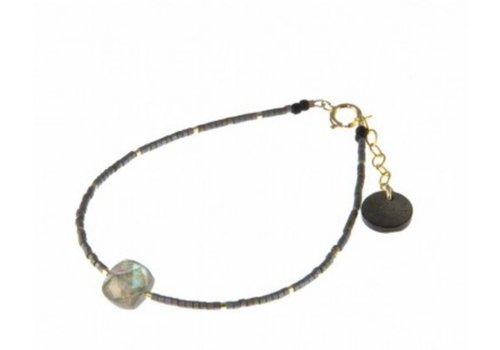 Blinckstar 1802A43 - GF Cushion Cut Labradorite Matte Grey Japanese Beads