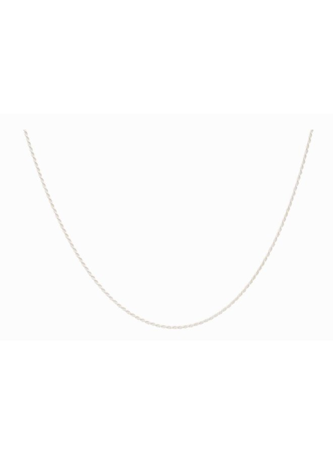 Twisted Plain Necklace Long Silver
