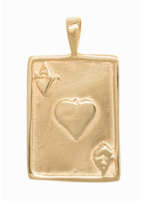 Anna + Nina Ace Necklace Charm Silver Goldplated