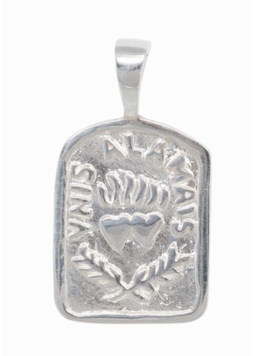Anna + Nina Medallion Necklace Charm Silver