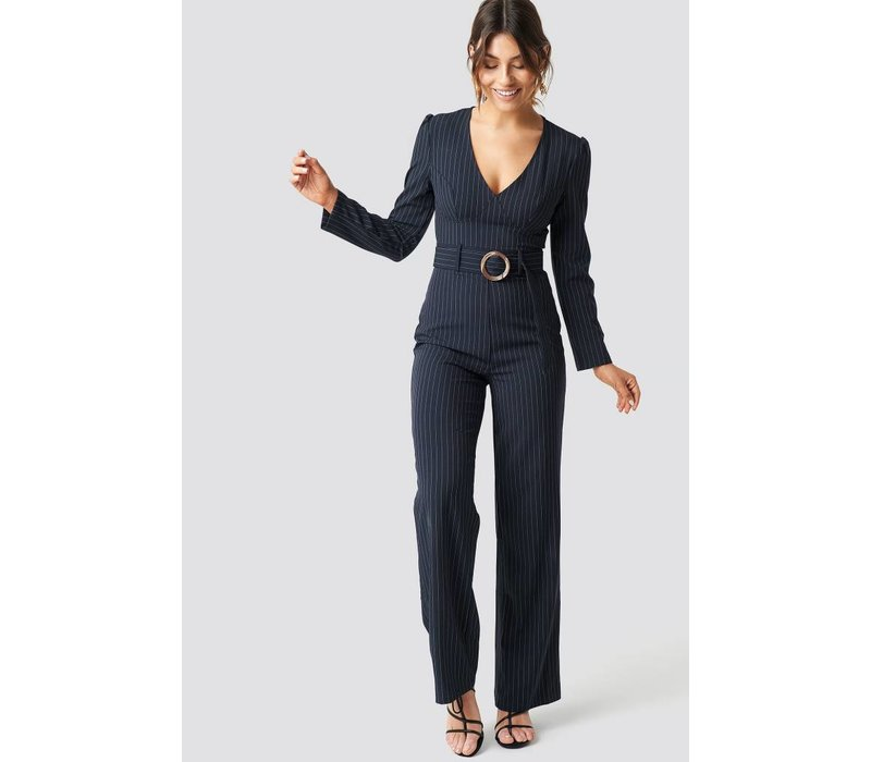 Pinstriped Flared Jumpsuit