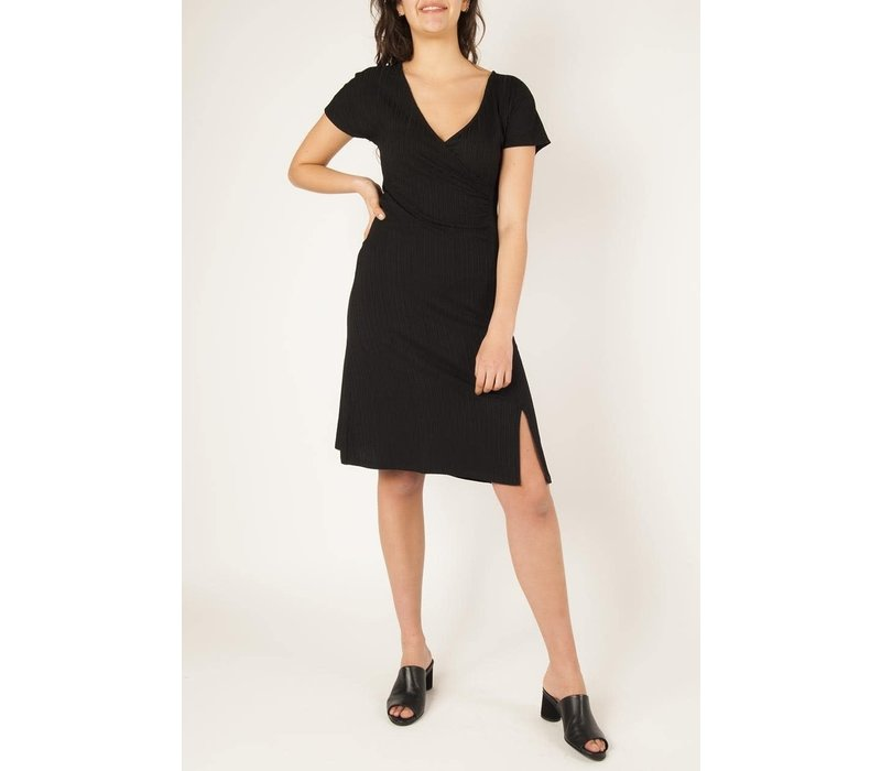 Drape V-neck Midi Dress