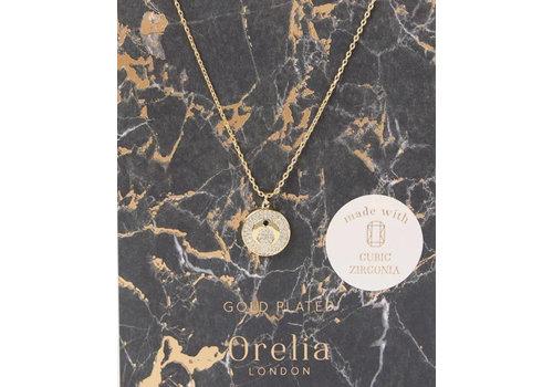 Orelia Pave Crescent Disk Necklace