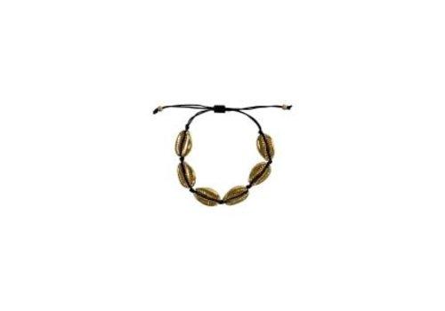 Black Colour IBIZA shell bracelet black/gold