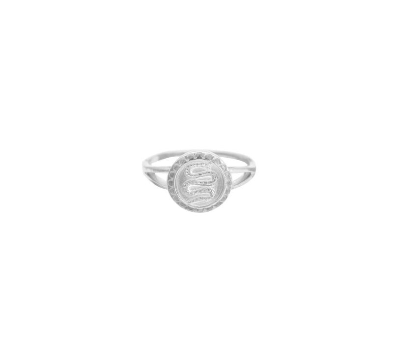 Serpent Coin Ring 17 Silver