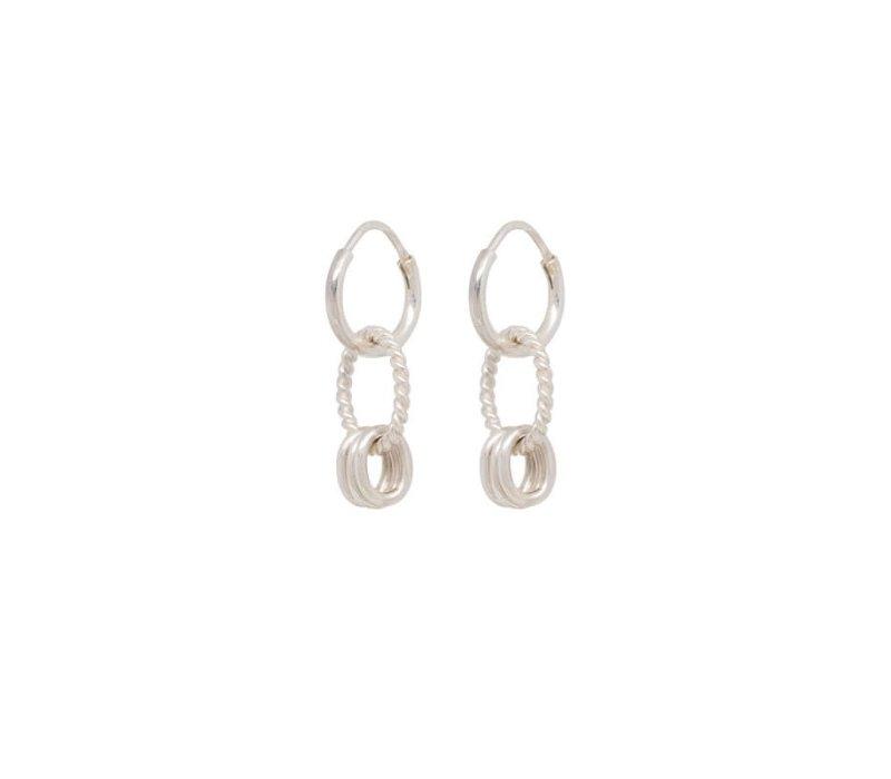 Rope Multi Ring Earring Silver