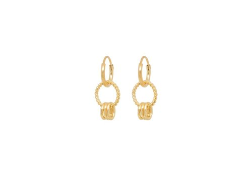 Anna + Nina Rope Multi Ring Earring Silver Goldplated
