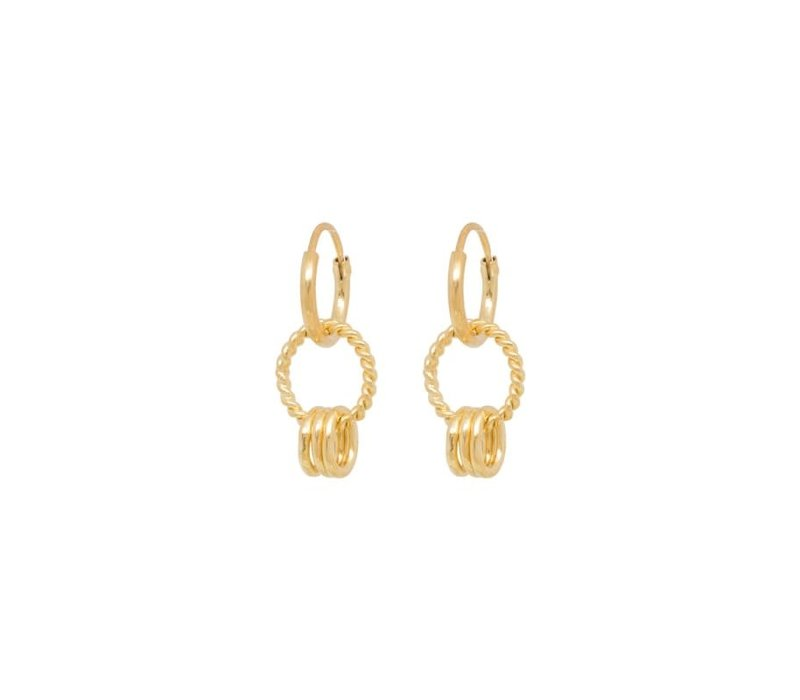 Rope Multi Ring Earring Silver Goldplated