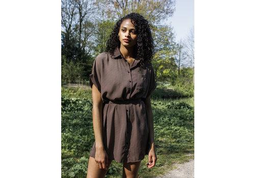 Things I Like Things I Love Jill Shirt Dress brown one size