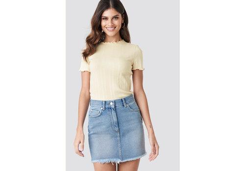 NA-KD High Waist Raw Hem Denim Skirt