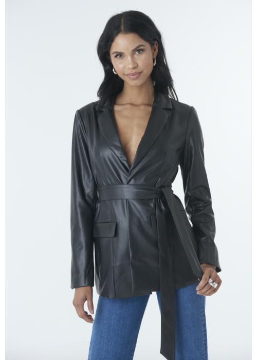 NA-KD Tied front faux leather blazer