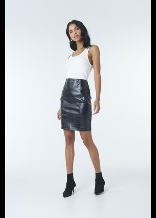 NA-KD embossed croco pu skirt