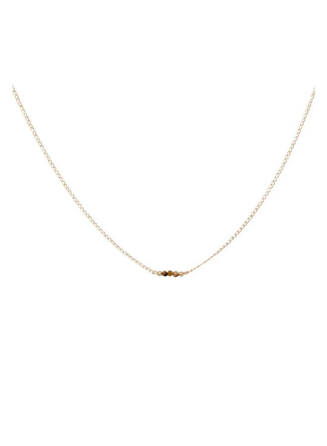 Ketting goud - tiger eye - 16 inch // 40,6 cm