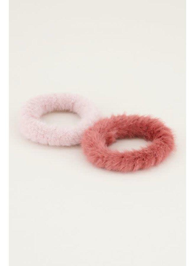 Scrunchie set fluffy Roze ONESIZE