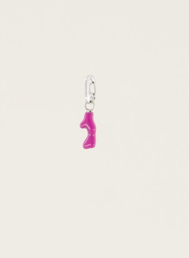 Moments charm fuchsia coral Zilver ONESIZE
