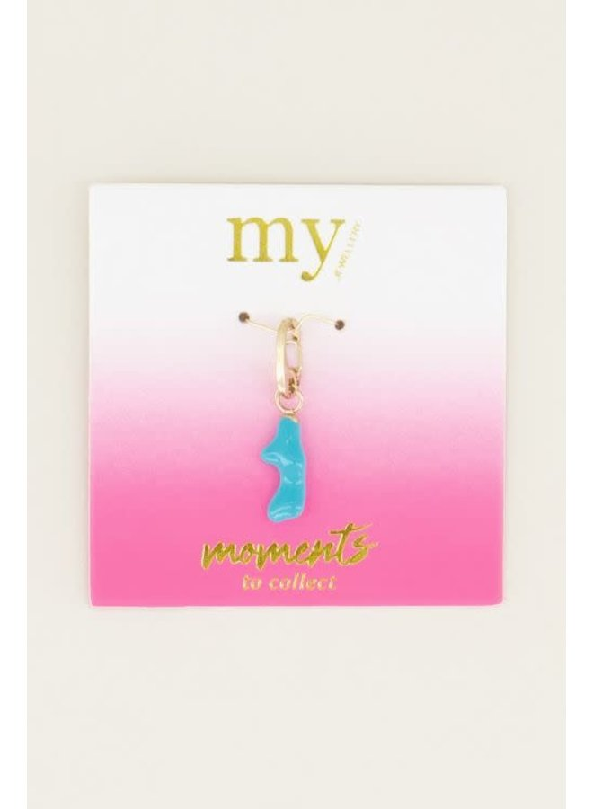 Moments charm blue coral Goud ONESIZE