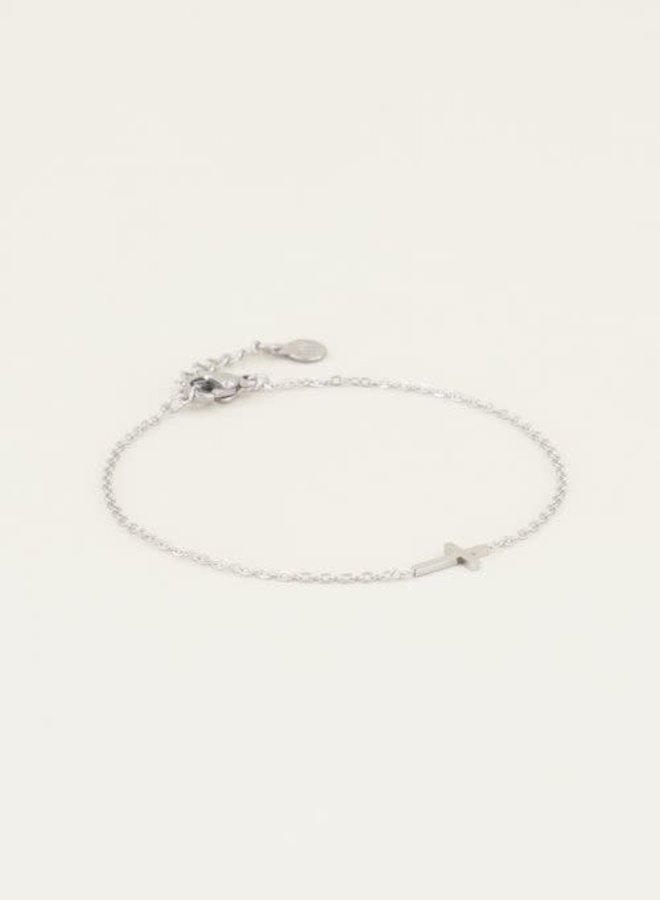 Armband met kruis Zilver ONESIZE