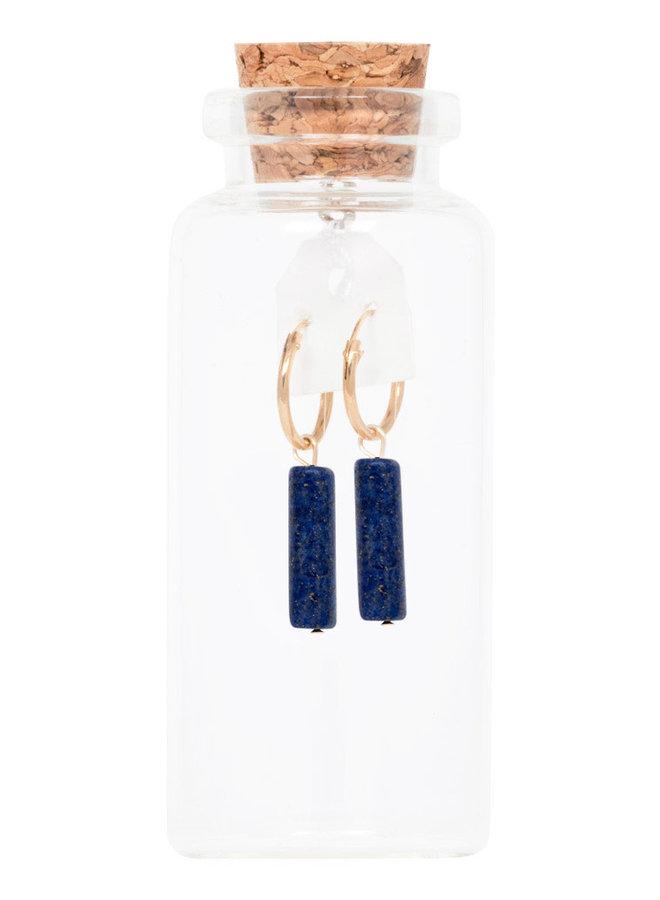 Oorbellen goud – tube lapis lazuli