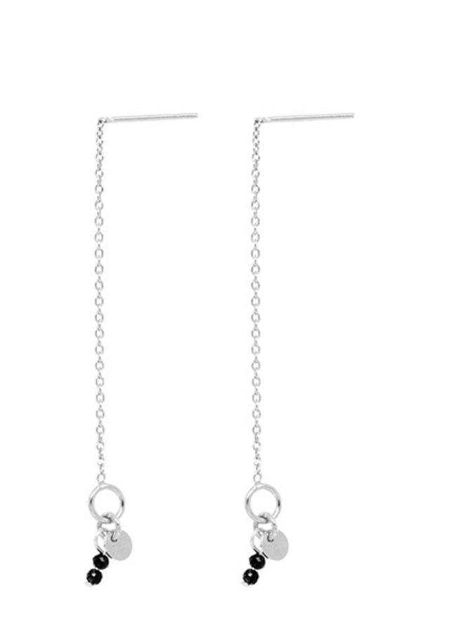 Oorbellen zilver - thin line O stones - Zwart