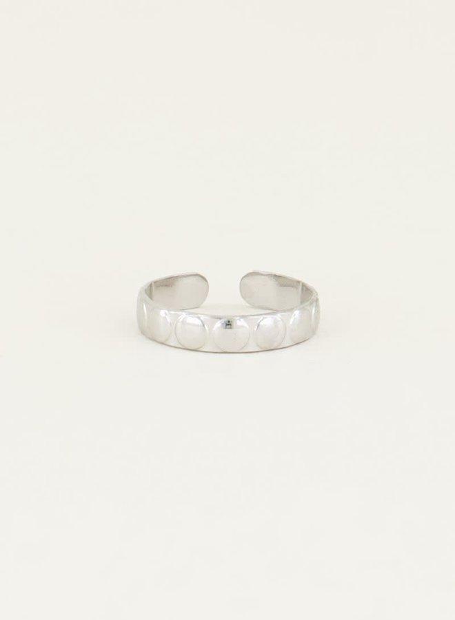 Ring brede bolletjes Zilver ONESIZE