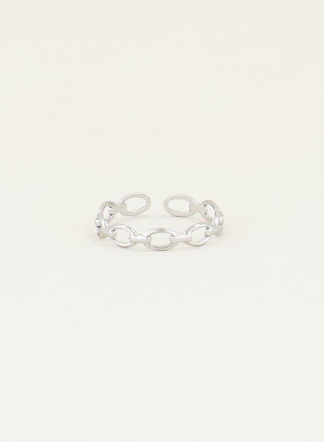 Schakel ring Zilver ONESIZE