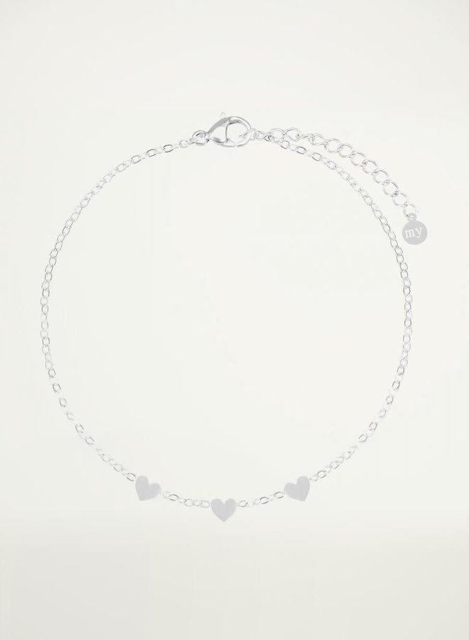 Armband met 3 hartjes Zilver ONESIZE