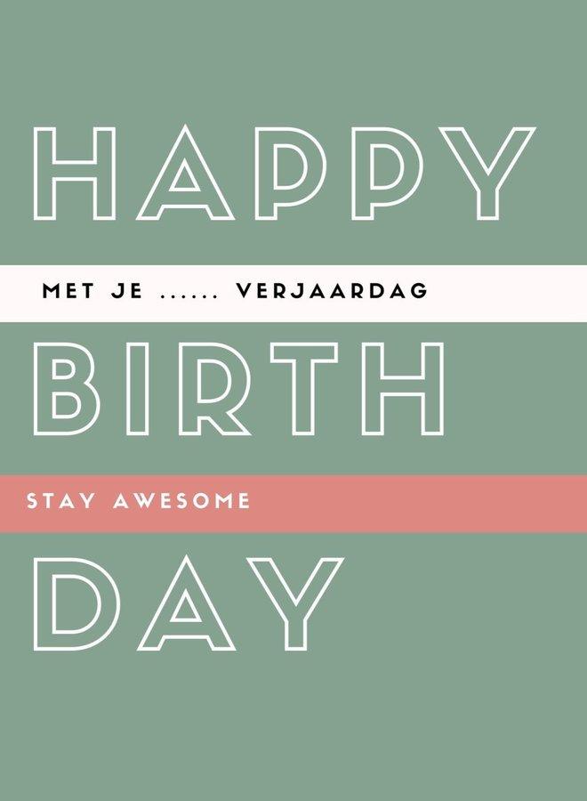 Happy Birthday - ansichtkaart