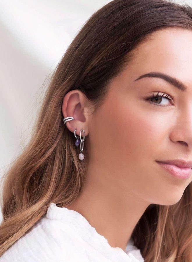 Ear cuff dubbele ring strass