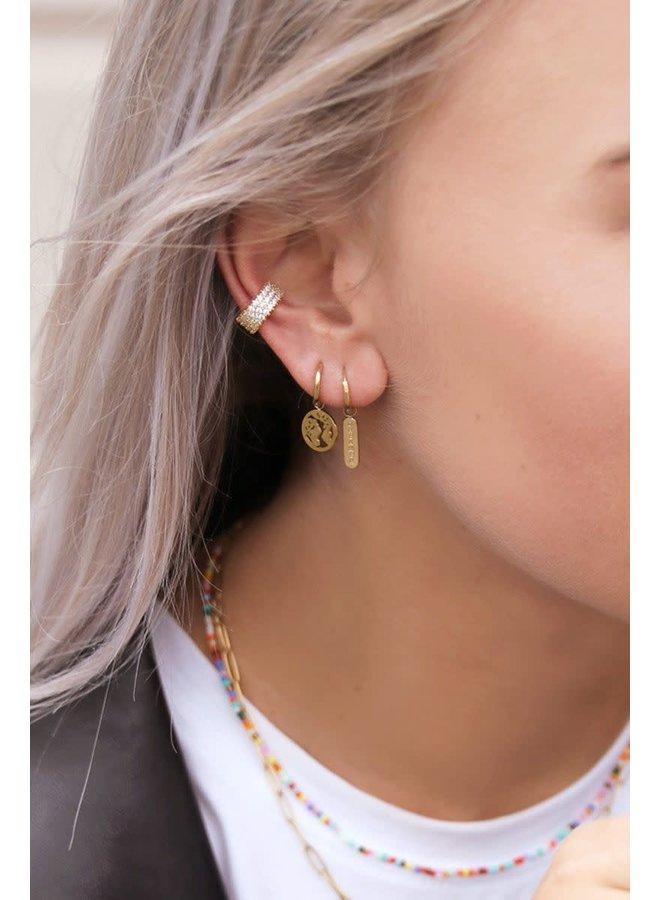 Ear cuff breed strass wit