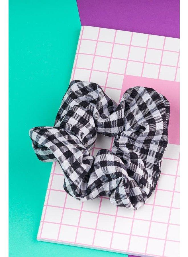 Scrunchie - geruit zwart/wit