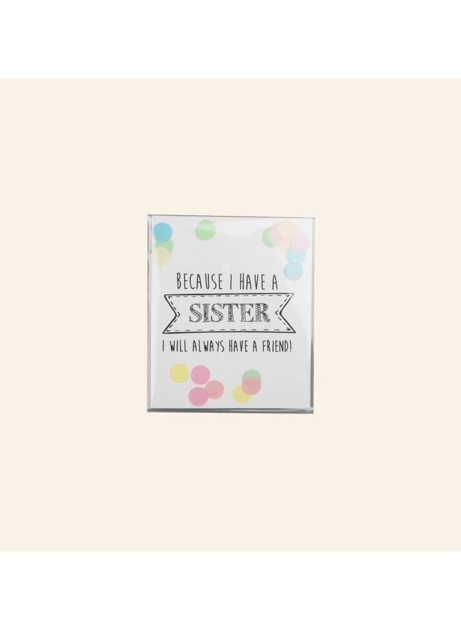Confettikaart - Sister