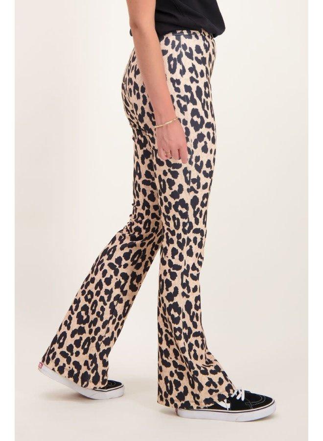 Beige flared pants panterprint