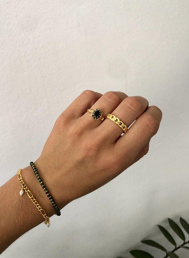 Vintage onyx flower gold