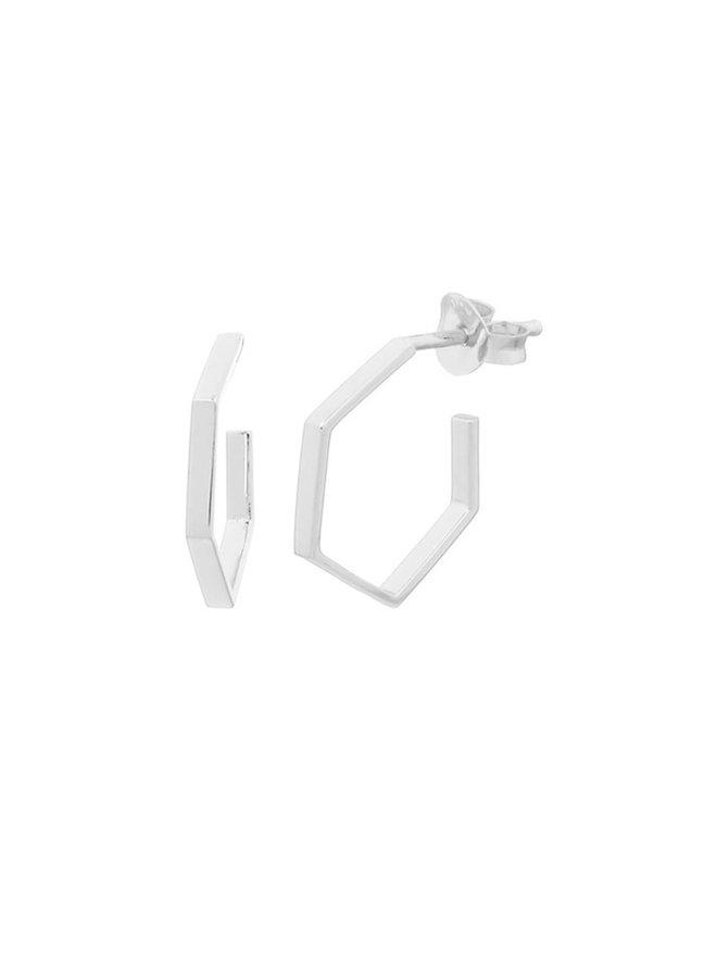 Oorbellen zilver – flat corner