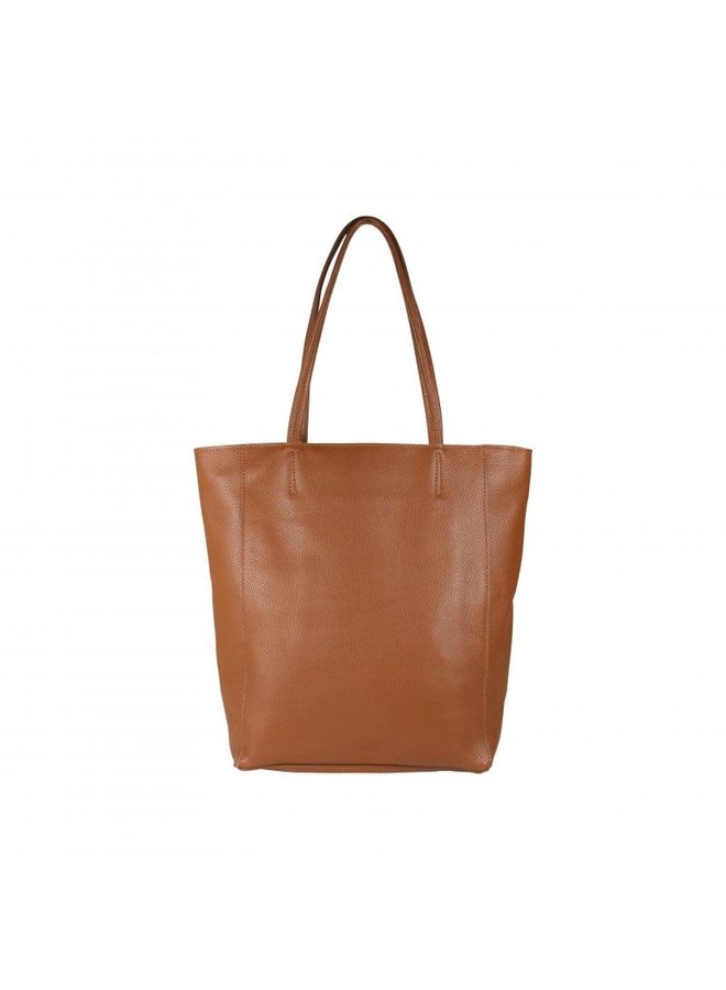Leather paperbag - Cognac