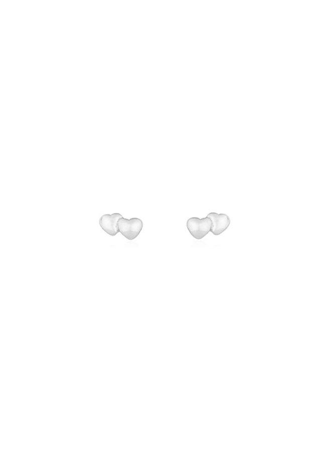 Oorbellen zilver – double heart