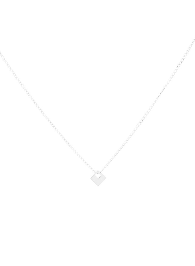 Ketting zilver – square in square