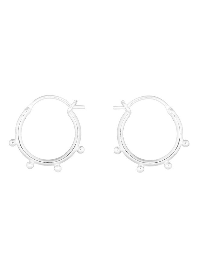 Oorbellen zilver - hoop dot
