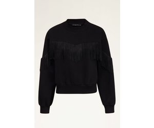 My Jewellery dames trui Zwarte sweater met franjes MJ03938