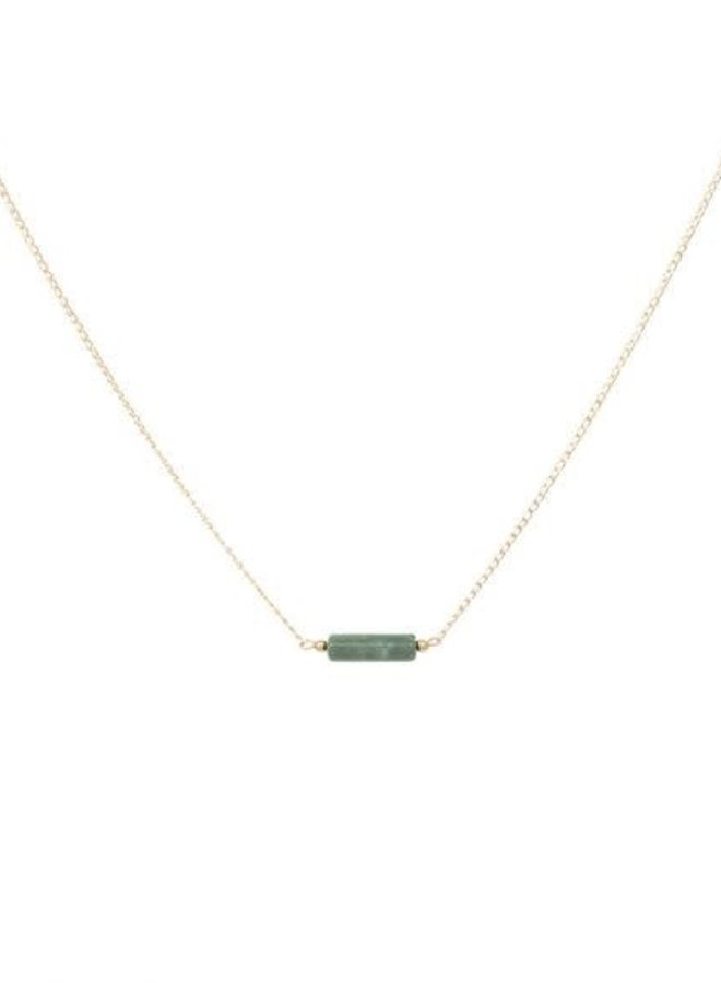 Ketting goud – tube jasper green - 16 inch // 40,6 cm