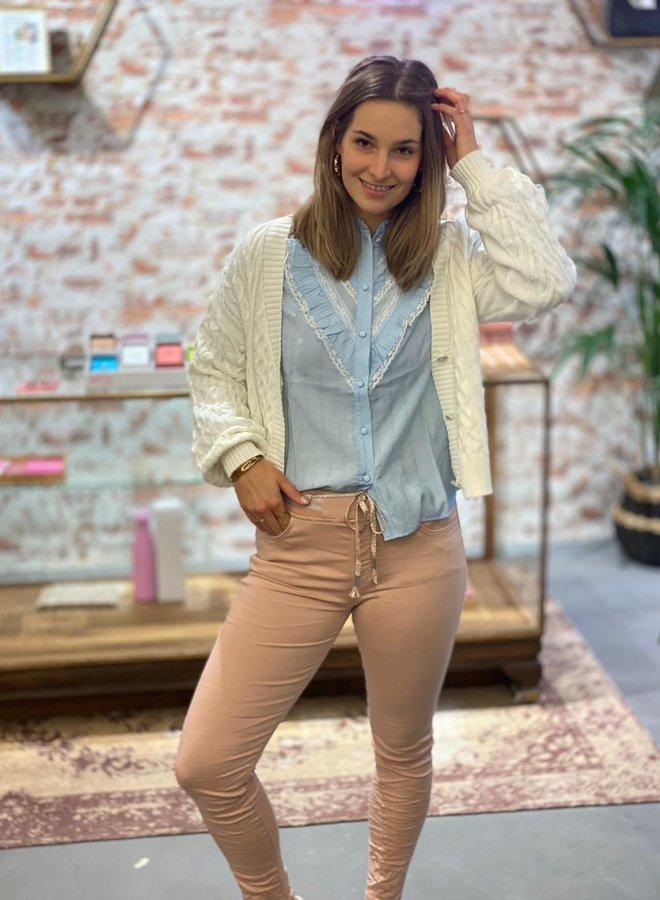 Jog jeans met glitter touwsluiting