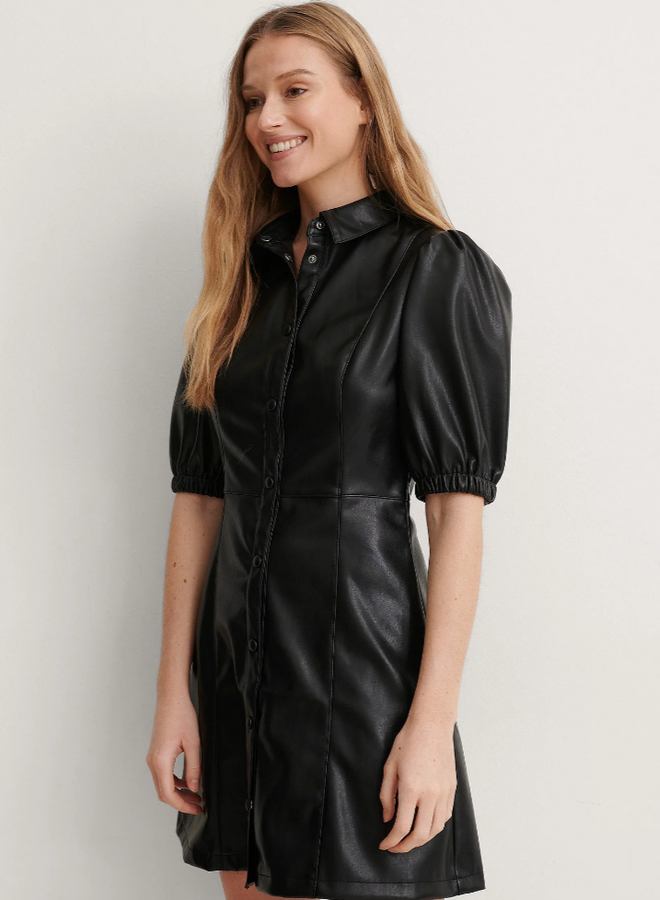 Puff Sleeve Shirt Pu Dress